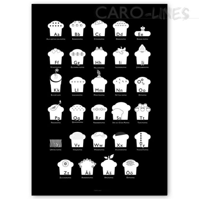 Alfabetet: Cupcake-ABC (30x40 cm) - Studio Caro-lines