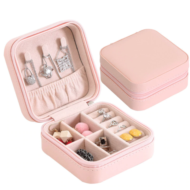 Pink jewelry box case travel