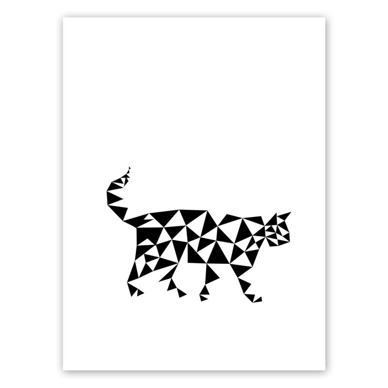 Poster of a black and white cat in geometrical shapes