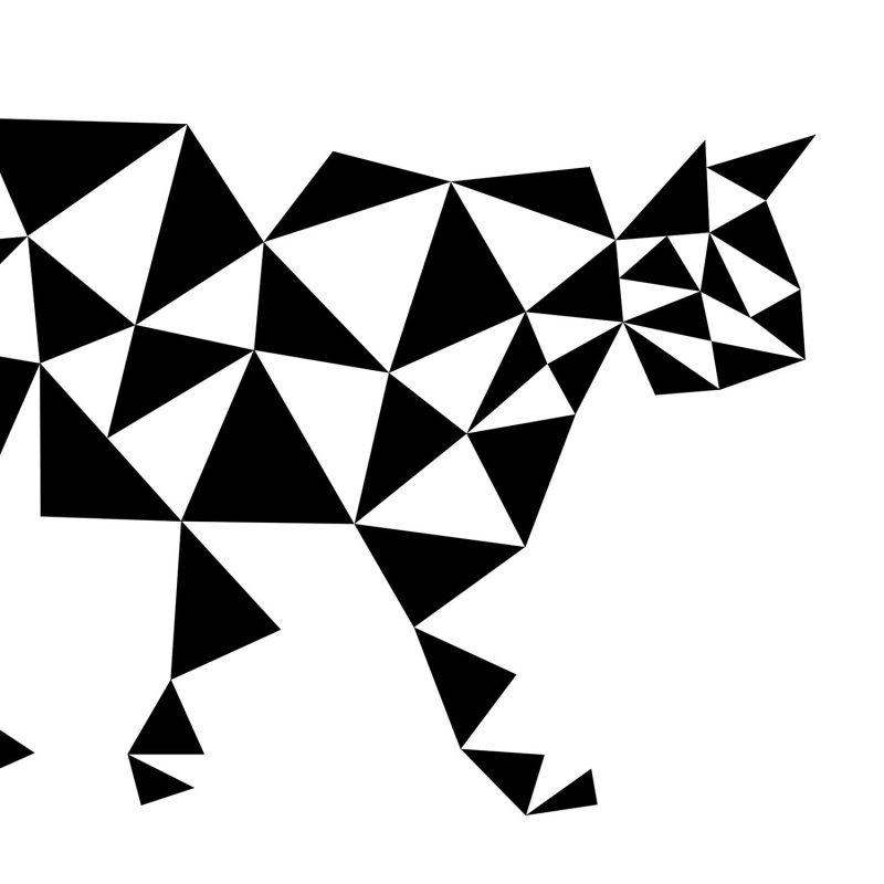 Grafisk katt (vit) - Studio Caro-lines