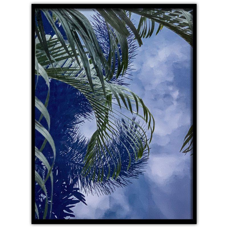 .Poster med ett fotografi av palmblad som reflekterar sig i vattnet på en pool