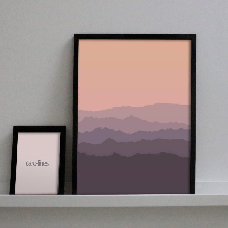 Paper landscape in pink