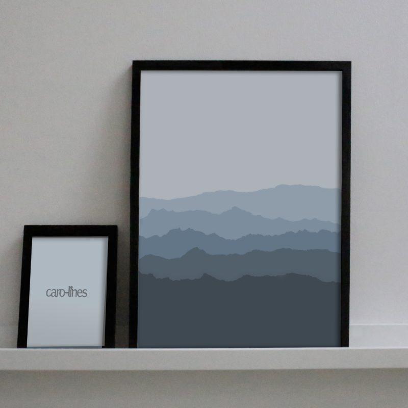 Paper landscape in blue
