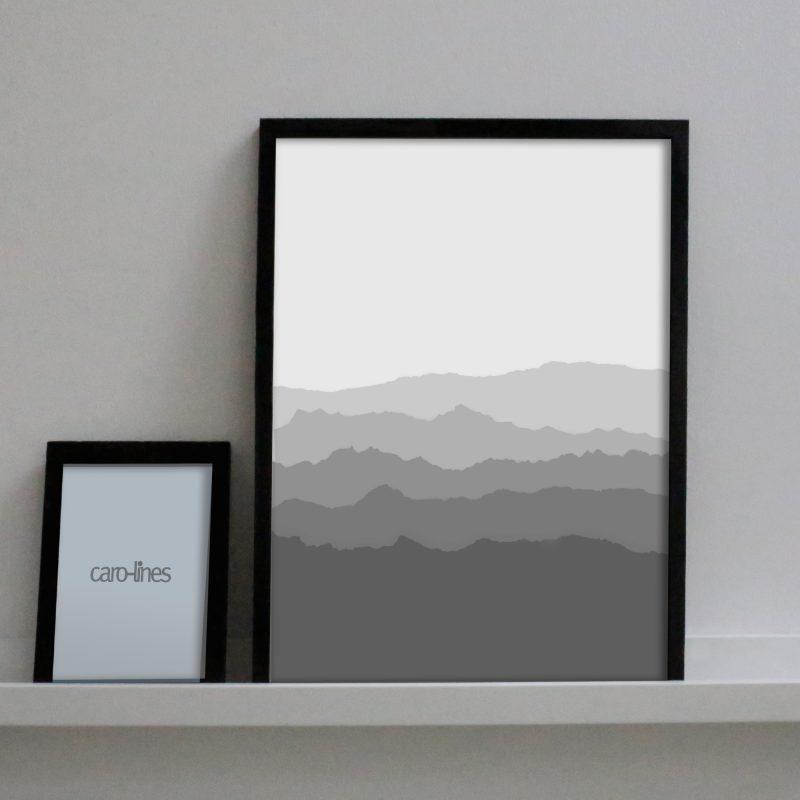 Paper landscape in grey