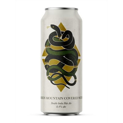Label for Bright Green Mountain Covered in Snakes beer