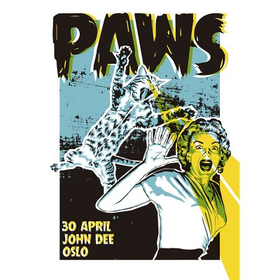 design of gig poster for Paws, Oslo 2016