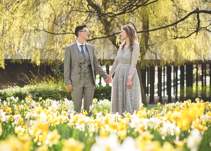 brides in daffodils