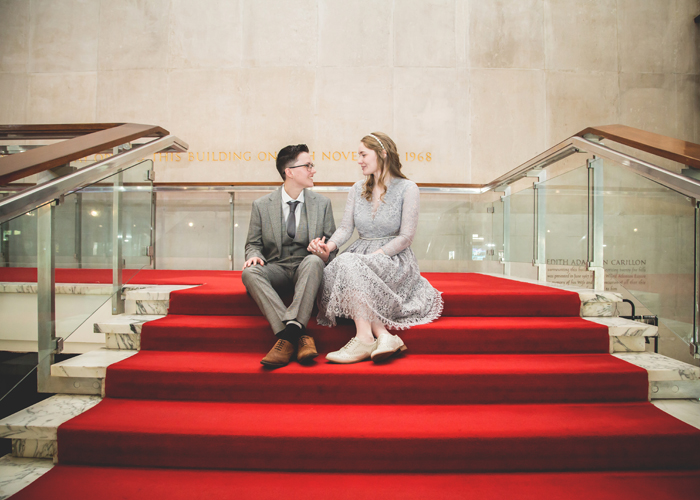 brides sitting on stairs