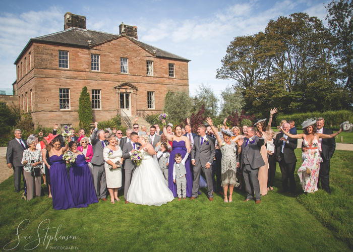 newton hall wedding group photo