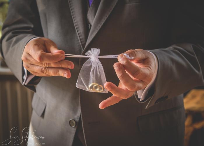 wedding rings in bag