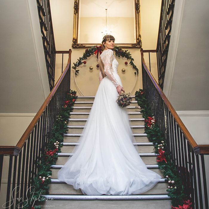 bride backworth hall stairs