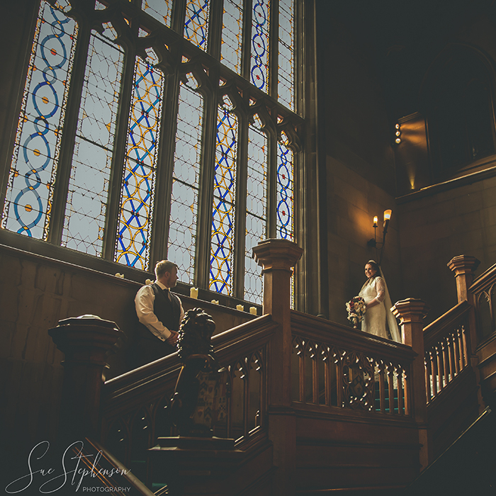 bride and groom matfen hall stairs