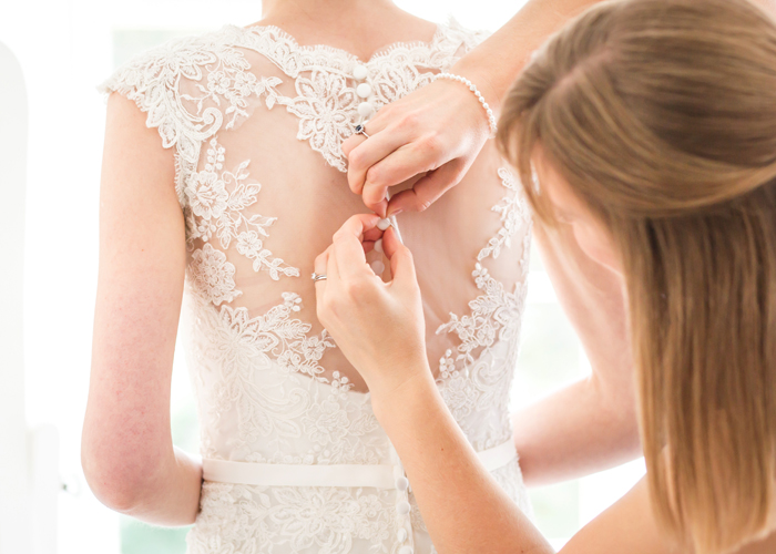 bride dress finishing touches