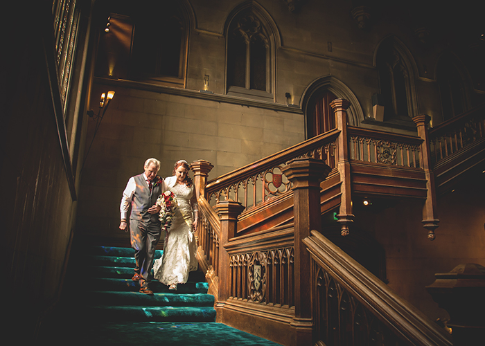 bride and father matfen hall