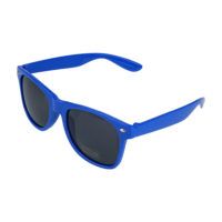 Blå Wayfarer solbriller med sort glas.