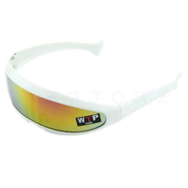 hvid solbrille med spejlglas.
