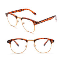 Leopard brun brille med guldkant og klart glas. Uden styrke