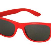 rød Wayfarer solbriller med sort glas.