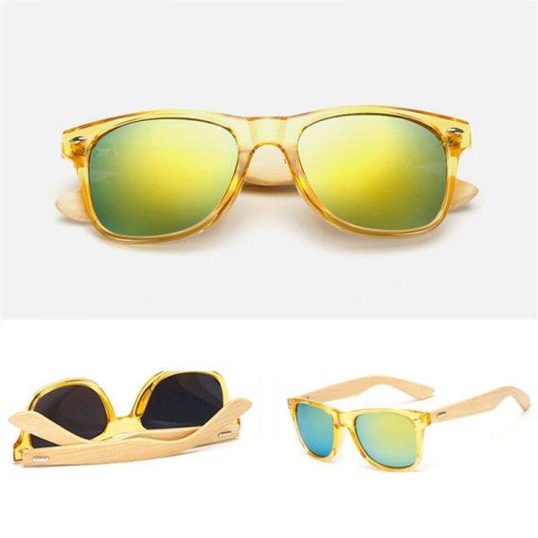 Gul Transparant Solbrille med spejlglas og stænger af bambus. 1