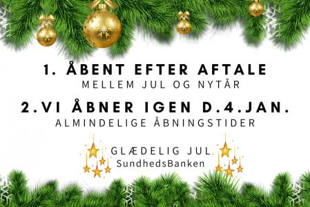 Åbent efter aftale mellem jul og nytår – Vi åbner igen d. 4. jan.