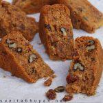 Carrot, walnut and raisin cake
