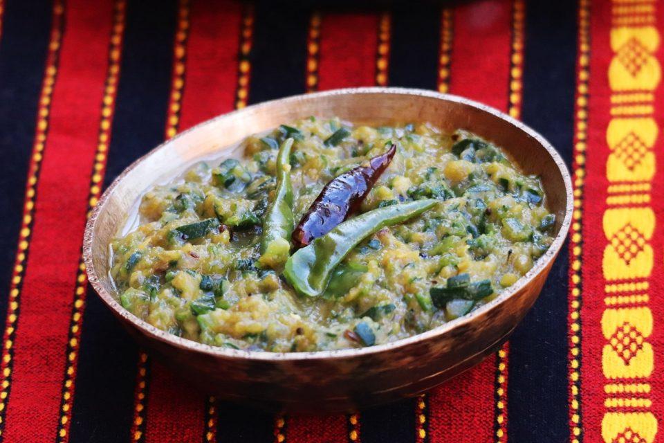 Courgette / zucchini khar (Assamese recipe)