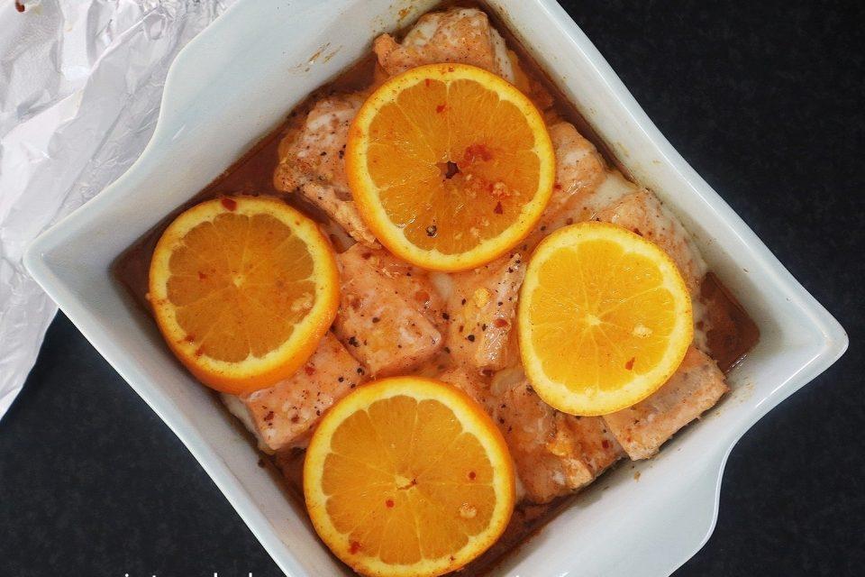 Orange salmon bake