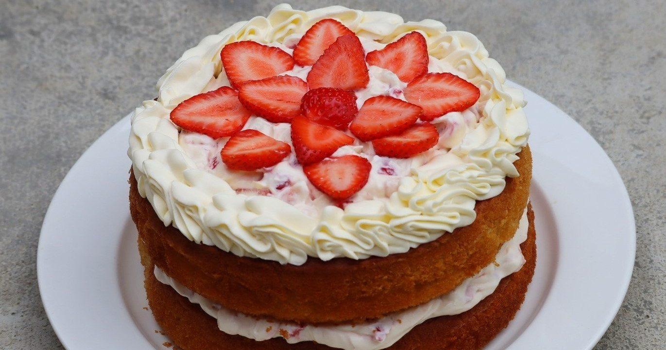 Coconut, strawberries and cream cake