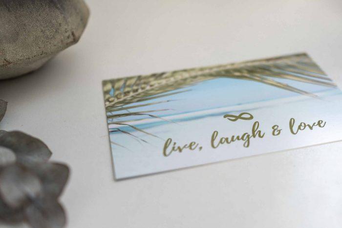 Postkarte Live, Laugh, Love