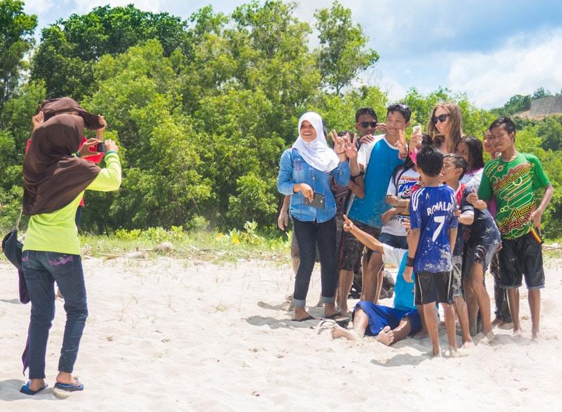 Photos being taken at Selong Belanak Beach Lombok