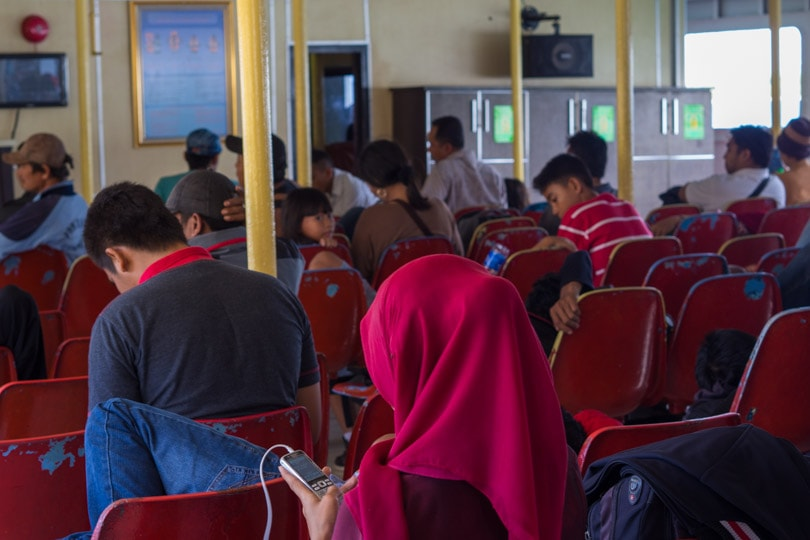 Inside the public ferry from Sumbawa to Lombok