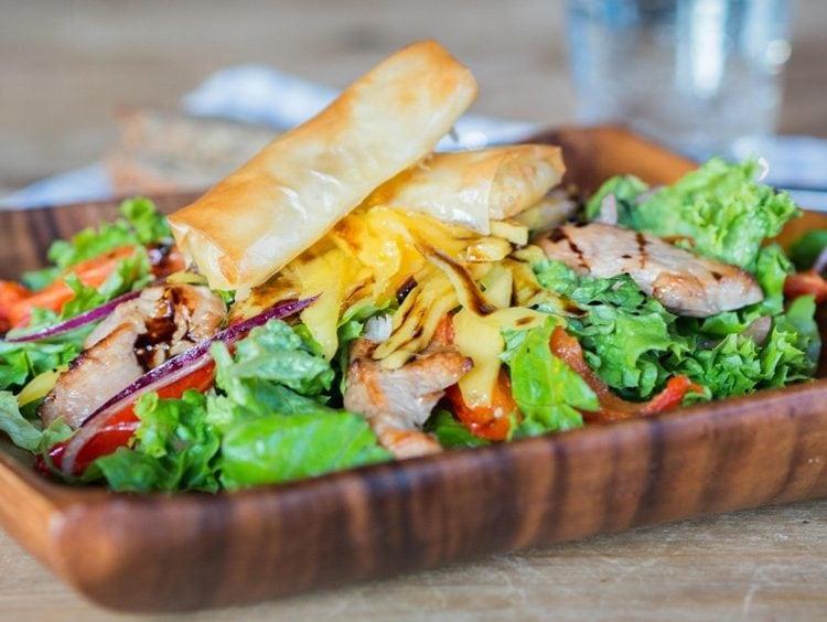 My favorite chicken salad with mozzarella sticks