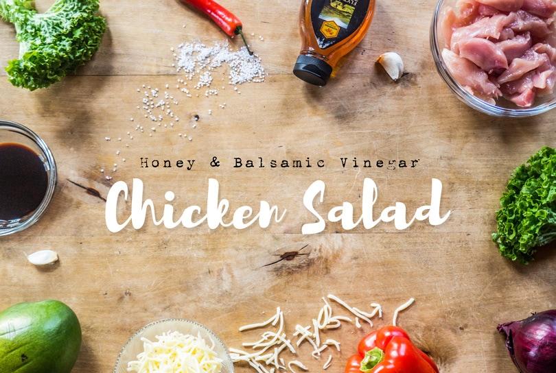 The best chicken salad with honey, balsamic, mango and mozzarella sticks