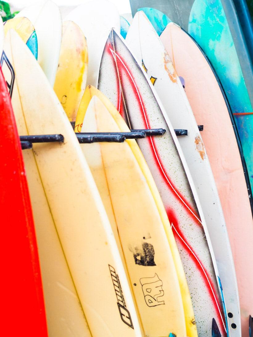 Surfboards at Batu Bolong Beach Canggu Bali
