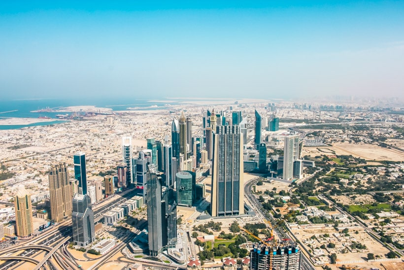 The view from 124 floor Burj Khalifa Dubai