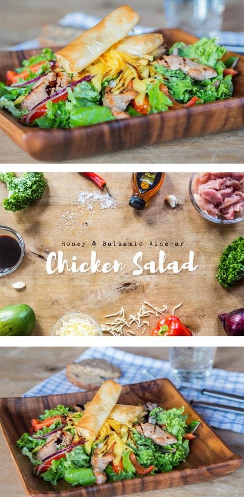 Honey and balsamic vinegar chicken salad with mozzarella sticks.