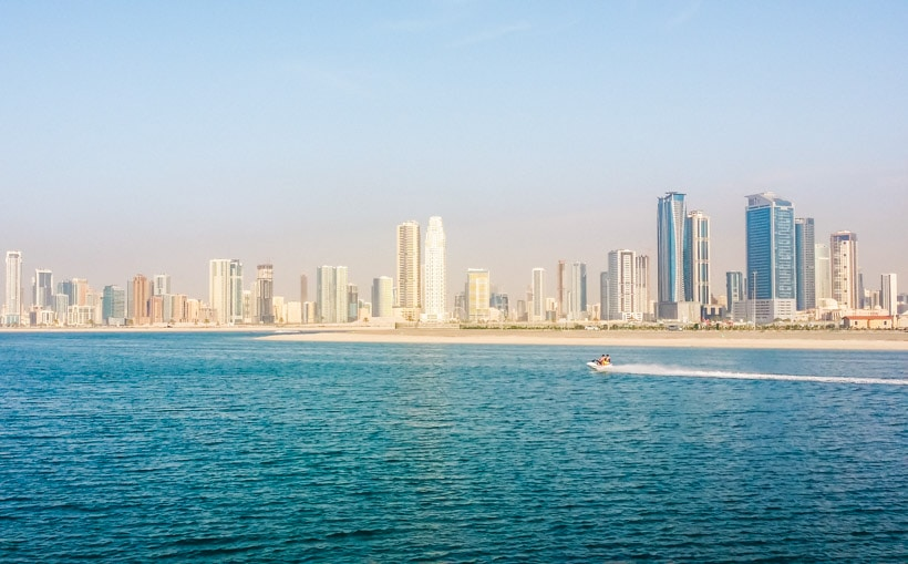 View of the Sharjah skyline outside Al Mamzar Beach Park