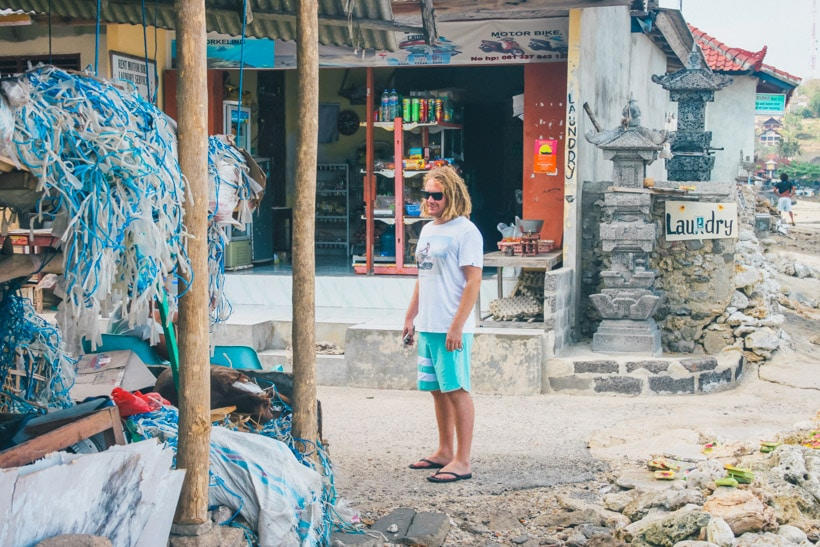 Checking out the stores on Nusa Lembongan