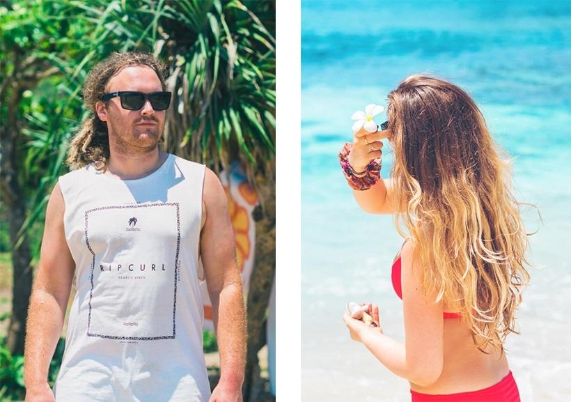 Surfer and girl at Secret Beach Nusa Ceningan Wanderlust