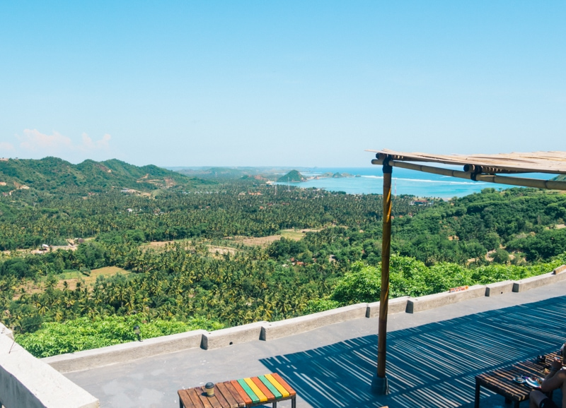 How to experience the incredible south coast of Lombok on a budget - Restaurant view