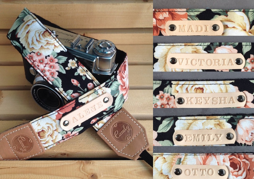 Gift ideas for travel girls - Gift guide - Personalized floral leather camera strap