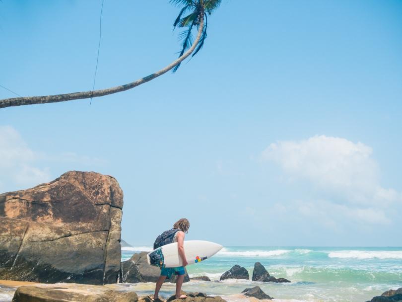 Dalawella beach right next to Unawatuna, Sri Lanka - Surfer