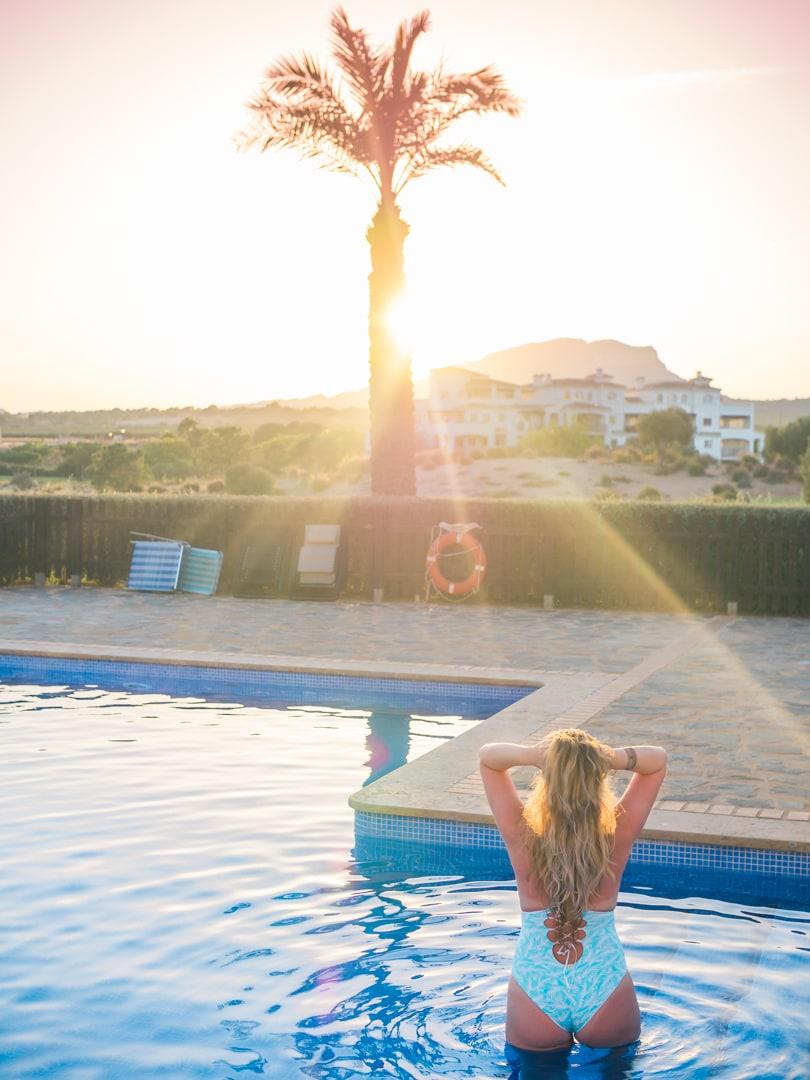 Bikinima - Affordable quality swimwear - Turquoise reversible palm pattern bathingsuit