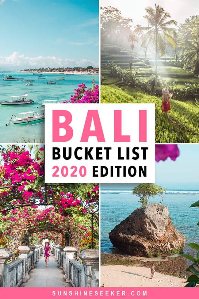 Check out the newly updated Bali Bucket List 2020 edition. More than 101 places & experiences in Bali you should add to your bucket list now #bali #bucketlist #uluwatu #canggu #travelinspo