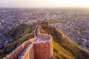 View of Jaipur city from Nahargarh Fort at sunset