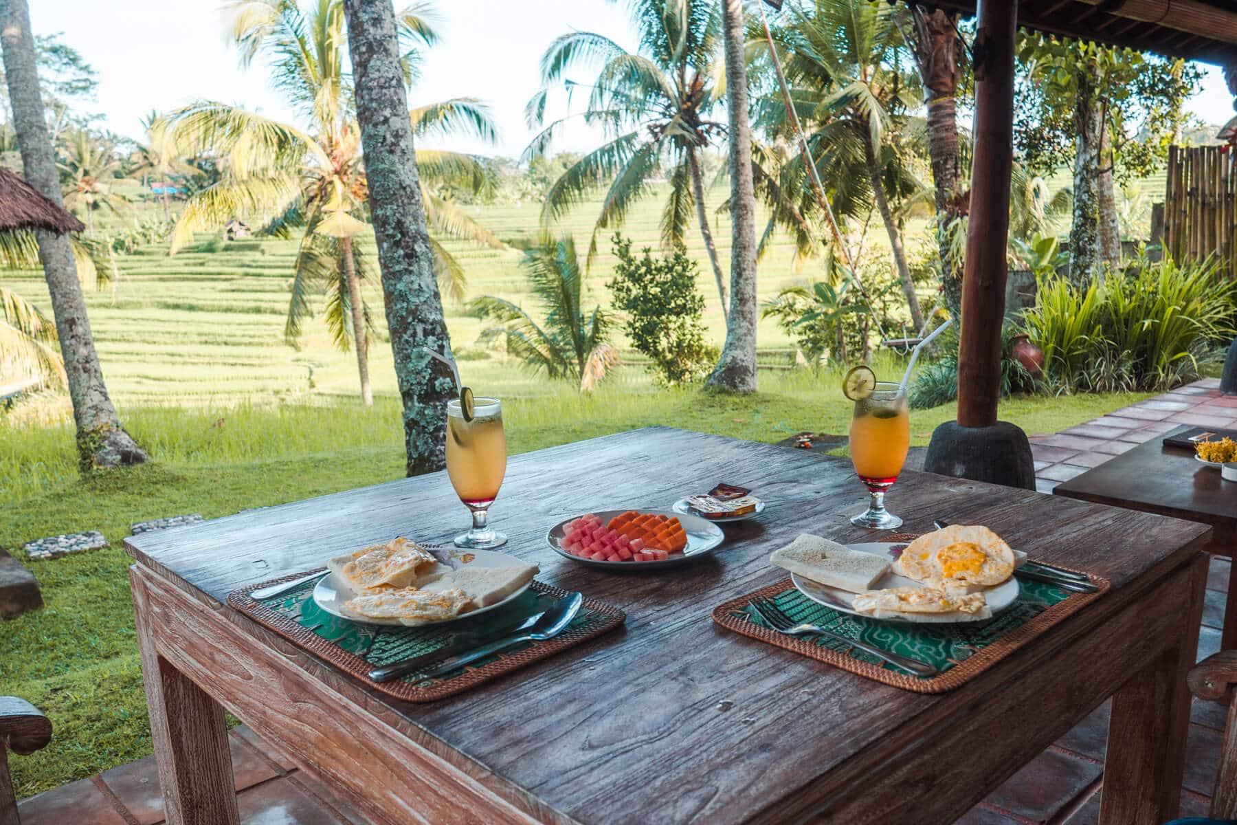 Island Life #4 - Breakfast in our garden overlooking the rice fields in Ubud