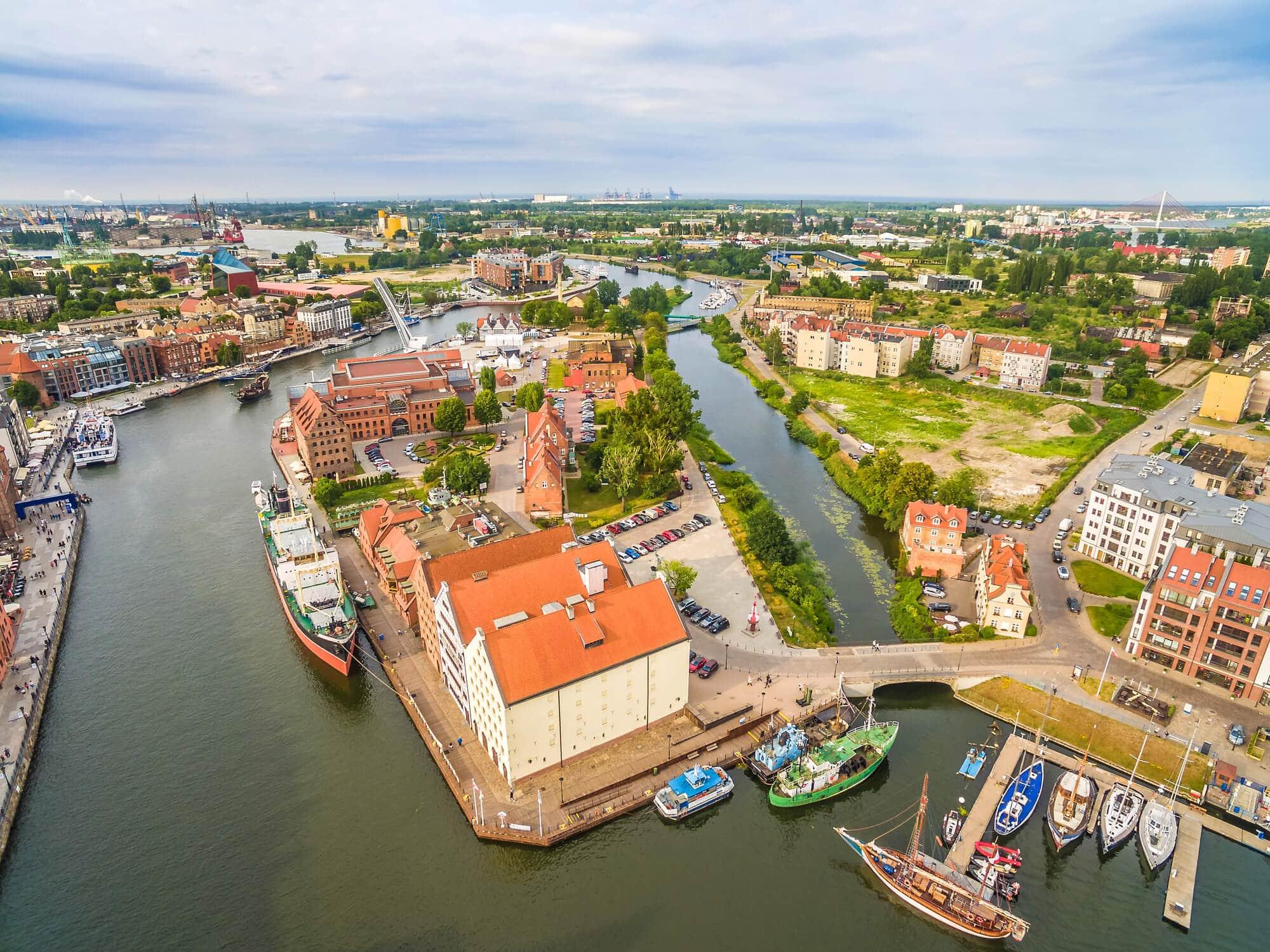 2 days in Gdansk, Poland - Aerial view of Olowianka Island