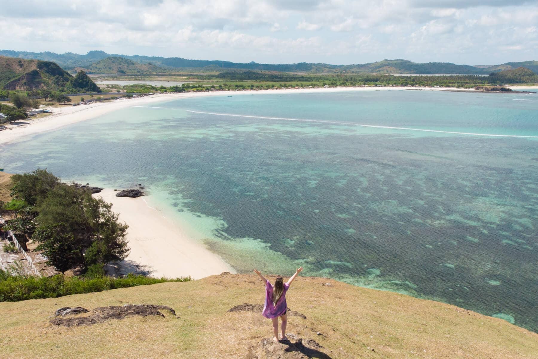 5 of the best views close to Kuta, Lombok - View from Bukit Merese looking towards Tanjung Aan Beach