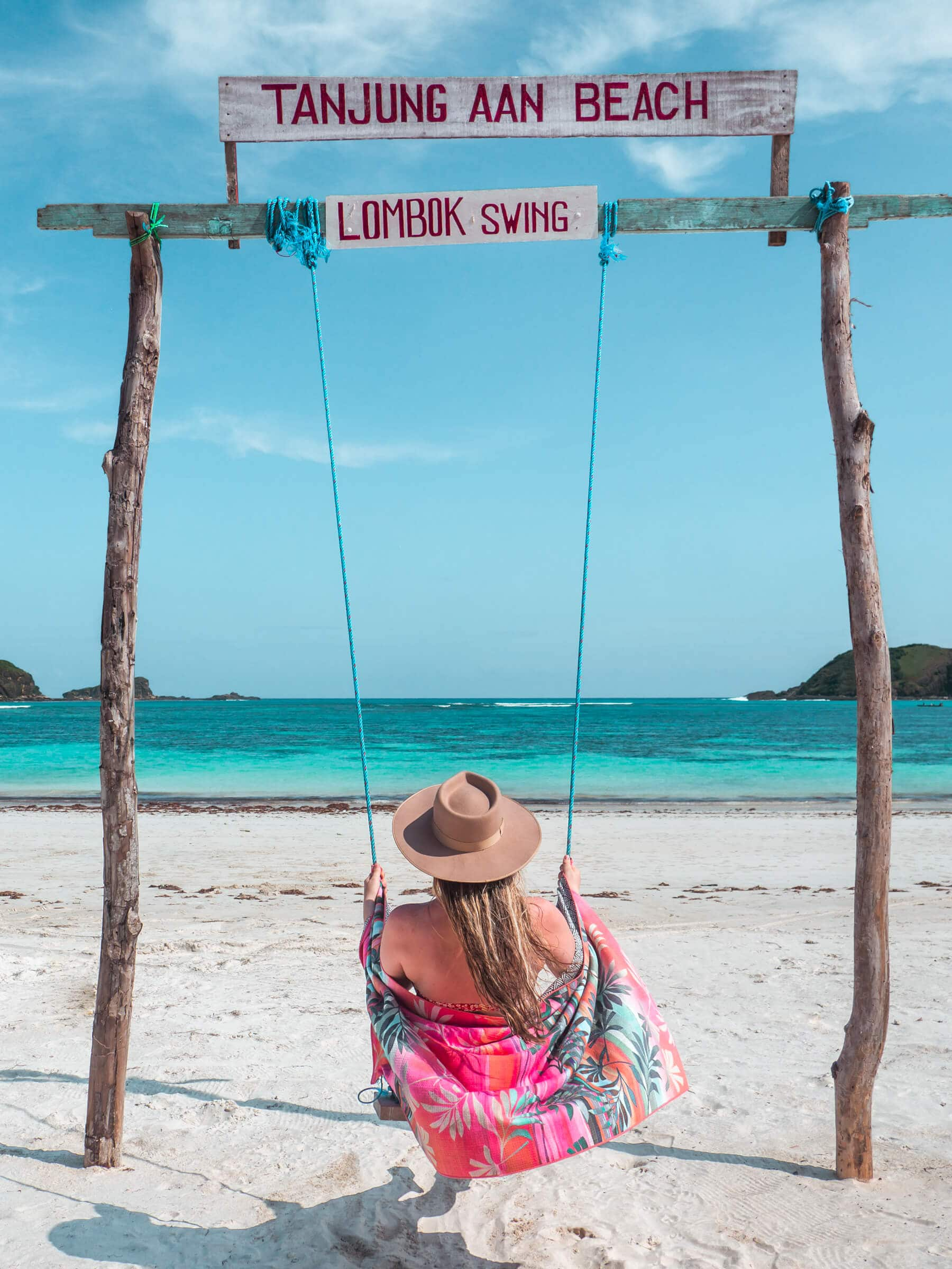 Follow along on our journey living in Kuta, Lombok for two months - Swing on Tanjung Aan Beach #lombok #kuta #indonesia #travelinspo #bucketlist