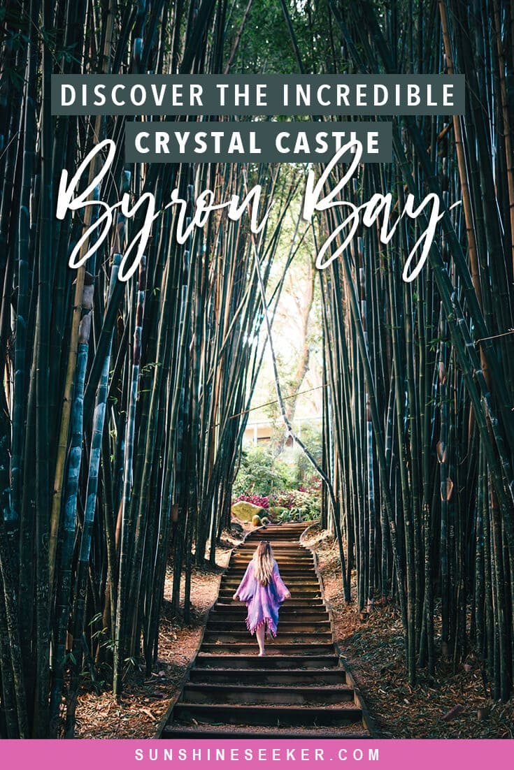 Why you should visit the magical Crystal Castle located in the Byron Bay hinterlands, NSW Australia. See the worlds largest amethyst crystals, a world peace stupa, a large buddha sculpture surrounded by rose quartz + so much more #crystalcastle #byronbay #newsouthwales #australia #travelinspo